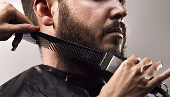 Step 2 - Using the clippers we shape and style your beard.